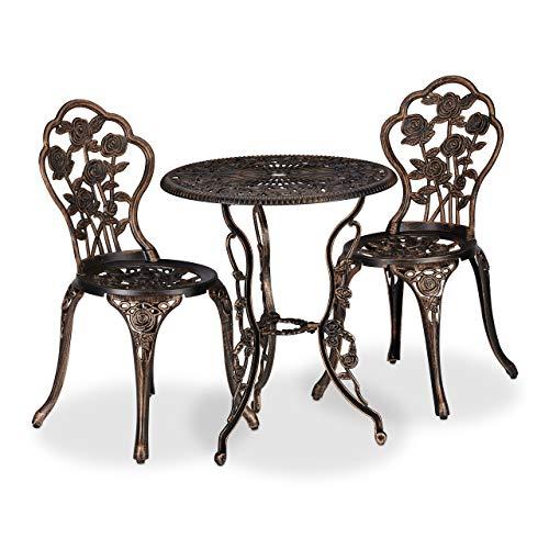 Relaxdays Set da Bistrot da 3, Tavolino da Giardino, 2 Sedie, Balcone, Stile Ferro Battuto, in Alluminio, Bronzo