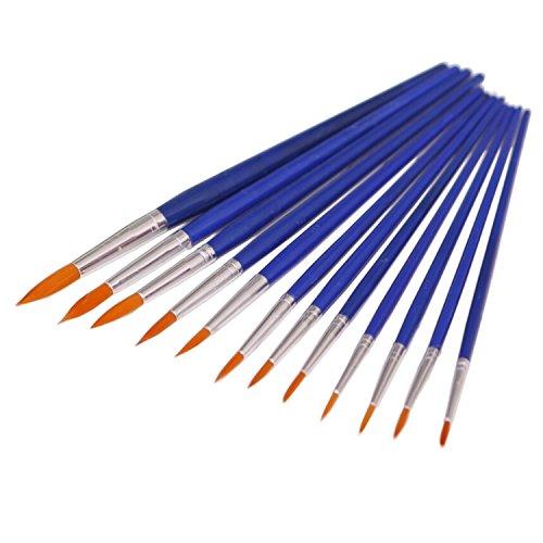 Ishua 12pcs Nylon Hair Watercolor Oil Painting Brush Set Artist Paintbrush with Blue Plastic Handle Blue Art Paint Brushes Suitable for Watercolors, Oils, Acrylics