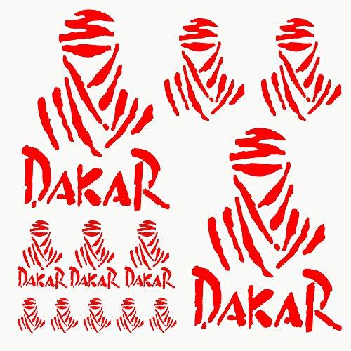 Autodomy Pegatinas Dakar Pack de 15 Unidades para Coche o Moto (Rojo)