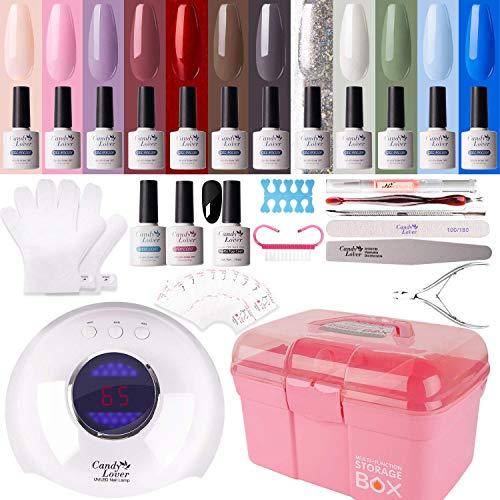 Candy Lover - Kit de manicura de gel de 36 W, lámpara UV LED, lámpara para secado de uñas, 15 unidades de esmalte semipermanente, juego de base de acabado y herramientas para manicura