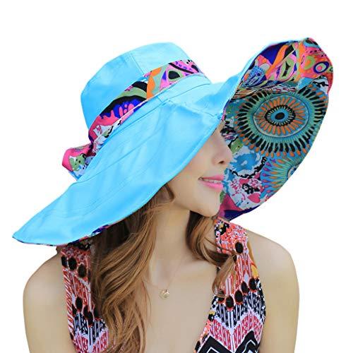 WITERY Floppy Summer UPF50+ Pieghevole Sun Beach Cappelli accessori a tesa larga per le donne
