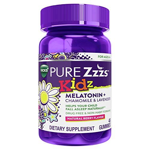 Vicks PURE Zzzs Kidz, Melatonin Sleep Aid Gummies for Kids and Children, Lavender, Valerian Root and Chamomile, Natural Berry Flavor, 48 Gummies