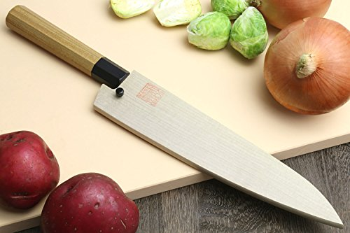 "Yoshihiro VG-10 46 Layers Hammered Damascus Gyuto Japanese Chefs Knife (Octagonal Ambrosia Handle) (8.25"" (210mm))"