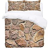 TIZORAX King Bedding Duvet Cover Set - Seamless Stone Wall 3 Piece Microfiber Comforter Set Quilt Cover and 2 Pillow Shams for Men Women