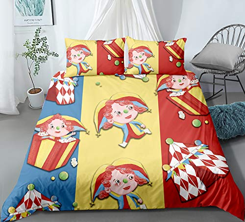 XUNGENG - Juego de cama infantil y funda de almohada con estampado 3D de microfibra con cremallera para niños, funda de edredón para niños y niñas, 220 x 260 cm