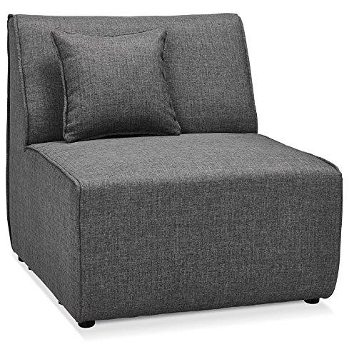 Alterego Élément 1 Place de canapé modulable 'Infinity Seat' Gris foncé