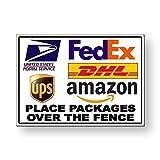 Unbekannt MS039 Metallschild, Aufschrift Place Packages Over The Zaun, englische Aufschrift
