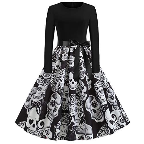 JXQ-N Damen Halloween Kürbis Muster Bowknot Vintage Langärmliges Cocktailkleid Party Retro Schwingen Kleid Faltenrock Petticoat Abschlussball Kleid