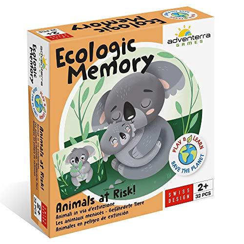 Adventerra Games Ecologic Memory Animali in Via D'estinzione | Giochi Da Tavolo Per Bambini Made in Europe Con Materiali Di Alta Qualità Riciclati E Riciclabili Al 100%. Giochi Montessori Educativi