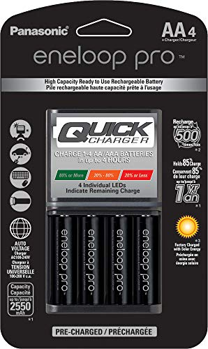 Panasonic K-KJ55KHC4BA Advanced 4 Hour Quick Battery Charger with 4AA Eneloop Pro High Capacity Rechargeable Batteries
