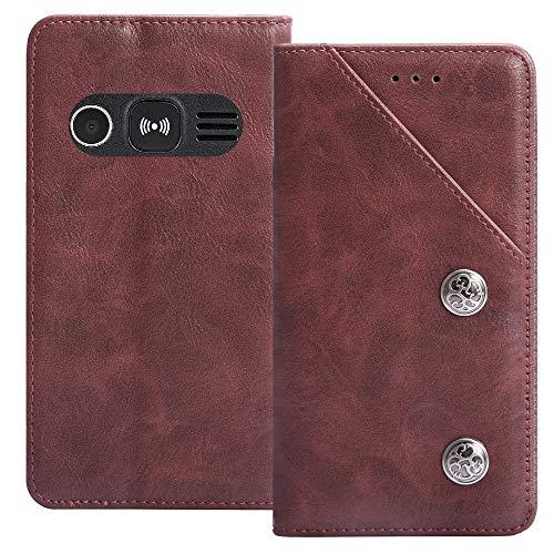 TienJueShi Rot Flip Brief Tasche Hülle Schütz Hülle Doro 1360 1361 1362 2.4 inch Echt Leder TPU Silikon Stand Handy Abdeckung Premium Wallet Cover Etui