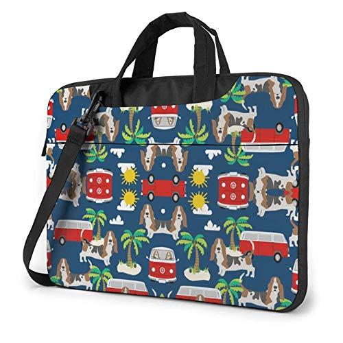 Basset Hound Dog Beach Bus Palmeras Funda para portátil 14 Pulgadas Elegante Bolso de Neopreno para portátil
