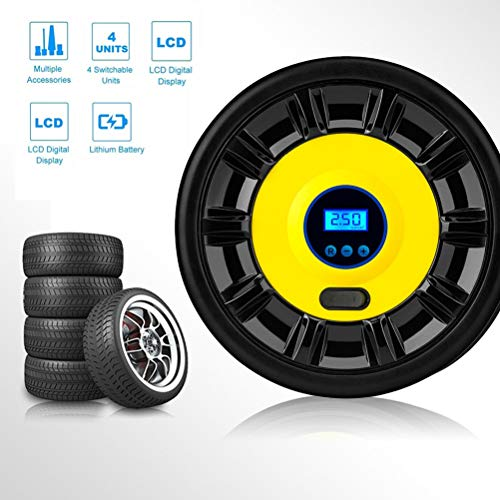 Inflador de neumáticos inalámbrico portátil Bomba de aire de 12 V digital de goma para neumáticos de coche con iluminación LED de emergencia y cables largos para coche, motocicleta, baloncesto y otros zhanmayy6.1