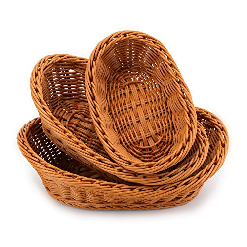 Yarlung 3 Pack Poly-Wicker Woven Breads Baskets, Stackable Oval Fruit Baskets Food Serving Holders for Vegetables, Home, Kitchen, Restaurant, Outdoor, Imitation Rattan Brown, 3 Sizes