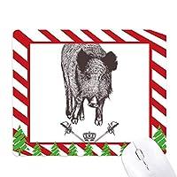 ボアソードクラウン動物のバロック・スタイル ゴムクリスマスキャンディマウスパッド