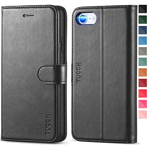 TUCCH Custodia iPhone SE 2020, Custodia iPhone 8, Custodia iPhone 7, Cover Pelle Sintetica Portafoglio con Interno TPU Antiurto, Supporto Stand, Slot per Schede e Flip Cover per iPhone SE2/8/7 - Nero