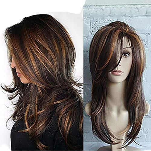 Pelucas rubias rizadas largas Pelucas sintéticas hasta los hombros para mujeres con flequillo Pelucas de cabello rubio claro de raíz oscura para mujeres