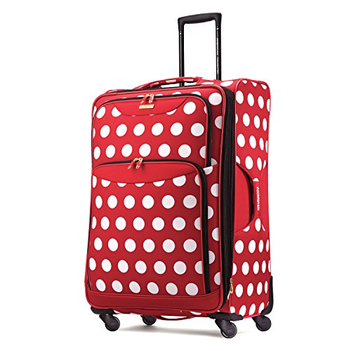 American Tourister Disney Softside Luggage with Spinner Wheels, Minnie Mouse Polka Dot, Checked-Large 28-Inch