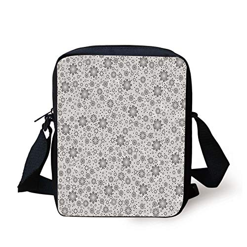 Grey Decor,Mix Florals with Rotary Round Rings and Dot Spots on The Backdrop Simplistic Blossom,Cloud Print Kids Crossbody Messenger Bag Purse
