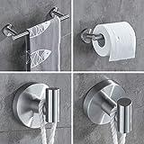 TRUSTLIFE Bathroom Hardware Set 3 Piece, Wall Mount Towel Bar Toilet Paper Holder Robe Hook Premium Stainless Steel Brushed Nickel Contemporary Style Bath Accessories