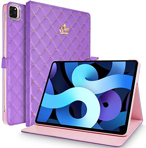 HaoHZ IPad Air 4 10.9 Inch 2020/ iPad Pro 11 Inch 2020 & 2018 Case, Crown Bling Diamond Cute PU Leather Smart Auto Sleep/Wake Shockproof for Apple iPad Air Gen 4/iPad Pro 11-in.2020&2018,Purple