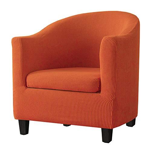 KELUINA 2 Pezzi Copripoltrona Club,Copripoltrona Chesterfield Elasticizzato Jacquard Poltrona da Cocktail Elastico Copripoltrona Lavabile Fodere Coprisedia per Bar(Arancione)