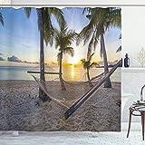 ABAKUHAUS Tropisch Duschvorhang, Paradies-Strand-Palmen, mit 12 Ringe Set Wasserdicht Stielvoll Modern Farbfest & Schimmel Resistent, 175x200 cm, Mehrfarbig