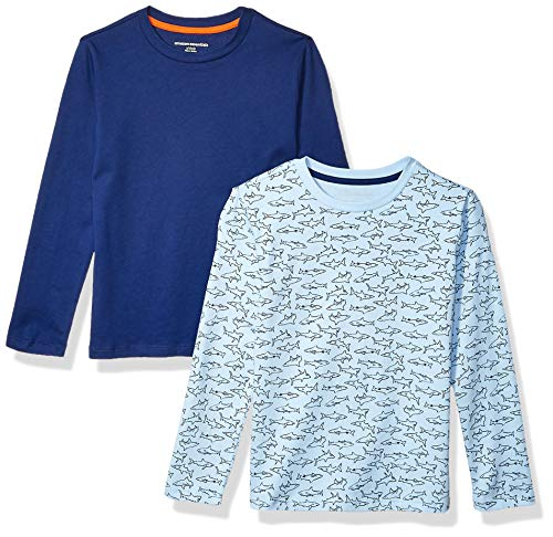 Amazon Essentials Kids Boys Long-Sleeve T-Shirts, 2-Pack Blue Sharks/Navy, Small