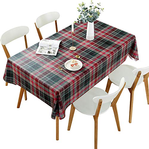 DARUITE Gingham Tablecloth, PVC Christmas Checked Table Cloth Waterproof Wipeable, Plastic Wipe Clean Tablecloth Rectangular 137 x 240 cm for Outdoor, Dining Room, Parties, Garden