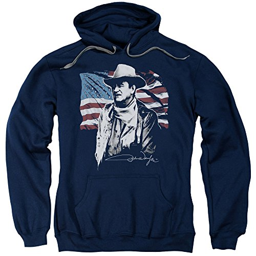 John Wayne American Idol Unisex Adult Pull-Over Hoodie for Men and Women, X-Large Navy