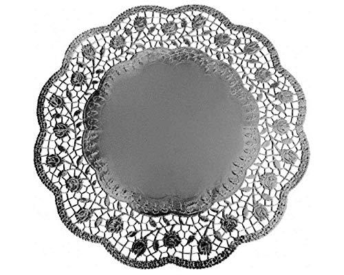 1-PACK Deko-Tortenspitzen rund silber Ø 36 cm, 16 Stück