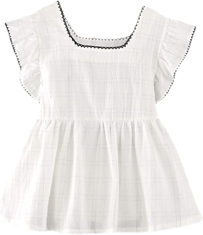 Summer New Girls' Tops Korean-Style Plaid Children's Ruffled Sleeveless Square Neck T-Shirt