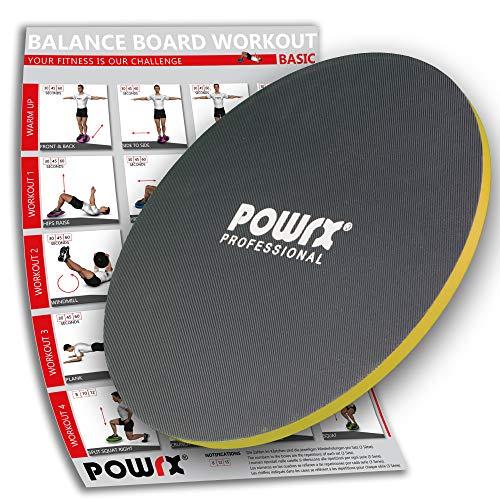 POWRX Balance Board Wackelbrett Aus Holz 45/50 cm | Therapie-Kreisel Für Propriozeptives Training Und Physiotherapie (45 cm)