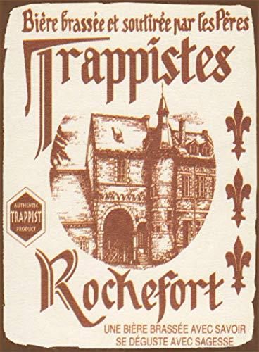 Placa de metal para pared con diseño de cerveza de Rochefort Trappist belga Lager de 20,3 x 30,5 cm