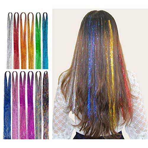 """46"""" Hair Tinsel Extensions 17 Colors Fairy Hair Tinsel Kit Sparkling Shiny Hair Extensions 3200 Strands Colored Party Highlights Glitter Extensions Multi-Colors Hair Bling (46 inch, 17 colors)"""