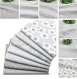 BYY - Lote de 7 piezas de tela de algodón para manualidades (40 x 50 cm), color gris