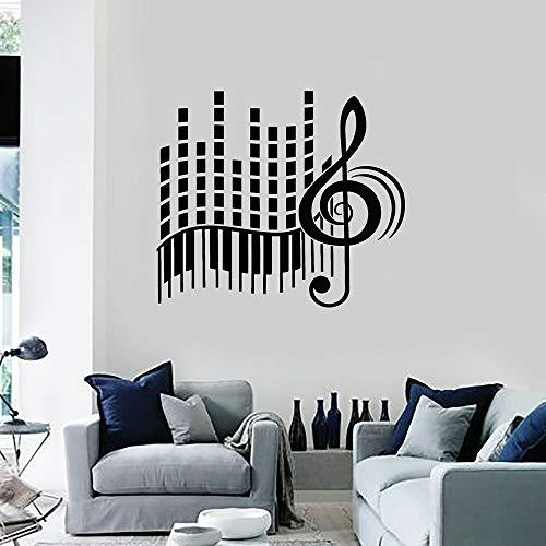 HGFDHG Música Tatuajes de Pared Amor estéreo Clave de Sol Piano Abstracto Vinilo Pegatinas para Puertas y Ventanas Estudio de música Carla decoración de Interiores Arte