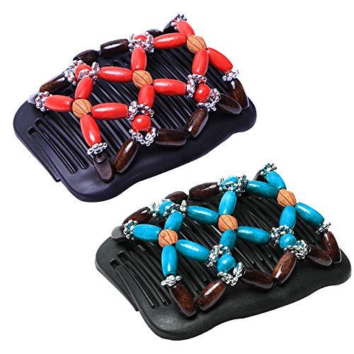 Gobesty Haarkamm Elastisch Perlen, 2 PCS Magic Haarklammer Comb Haarspangen Dehnbar Kamm Doppel Clips für Damen Mädchen Haarschmuck