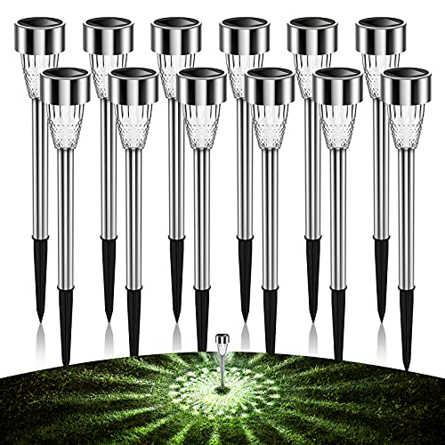 AlJoLife 12Pack Solar Lights Outdoor Decorative, 8H Waterproof Auto Solar Garden Lights, Anti-Deform Stainless Steel Pathway Light Solar Powered, Super Bright LED Landscape Lighting for Yard, Walkway