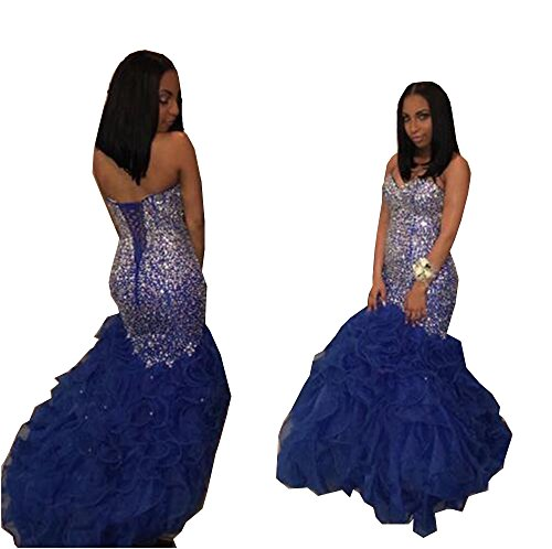 Sweetheart Sleeveless Modern Prom Dresses Sequins Lace Crystal Beaded Organza and Tulle Royal Blue Party Dresses (Apparel)