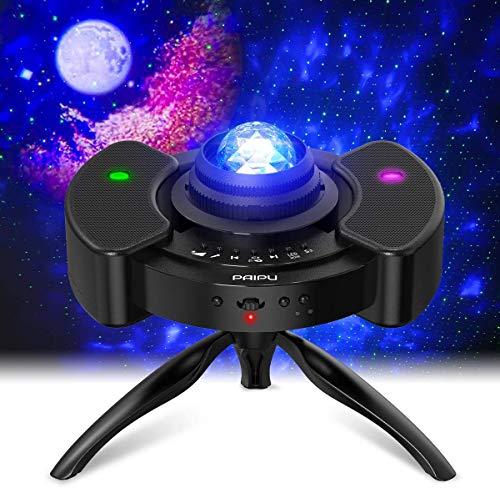 Sternenhimmel Projektor, PAIPU 4-in-1 Nebulicht Projektor Musik Rhythmus Bluetooth Dual Lautsprecher LED Stern Projektor Licht Nachtlicht Baby, 3 Timing-Modus, Mit Verstellbares 360° Stativ