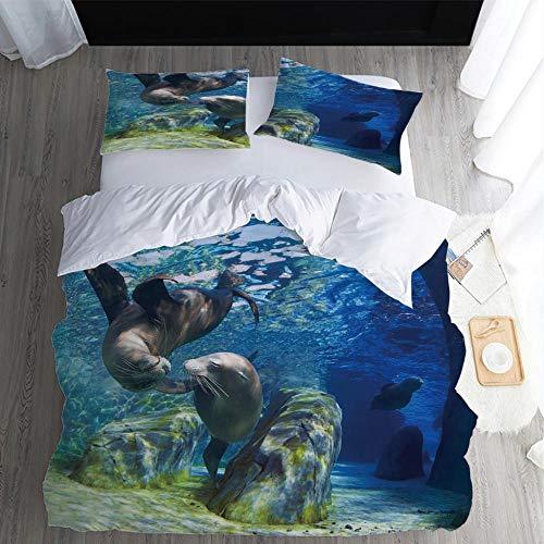KONGNFC Bedding Set Sea Lion Sanded Fabric Single Duvet Cover Soft Comfort Beddings With 1 Pillowcase-(W:135 X L:200cm)