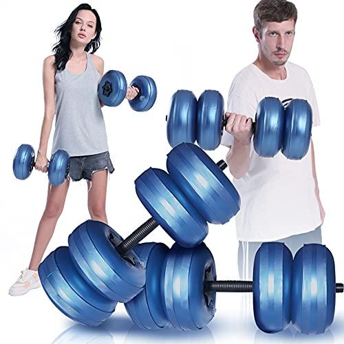 KKTECT 2 Stück wassergefüllte Hanteln Tragbare Reisehanteln Wassergefüllte Gewichte Hanteln Training 15-20kg, für freie Gewichte Set für Muskelaufbau, Kraftaufbau, Gewichtsverlust (Blau)