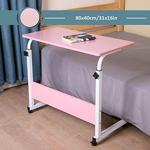 CHOUE Kohlenstoffstahl Laptop Desk mit Pink Density Board,Höhenverstellbar, Abschließbare Rollen,Ständer Für Laptop Zur Verwendung Mit Stühlen Und Betten In Krankenhäusern Und Zu Hause