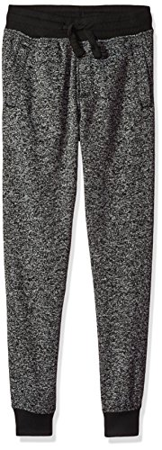Southpole Boys' Big Jogger Fleece Pants in Basic Colors, Marled Black(New/Logo Patch), Large-14/16