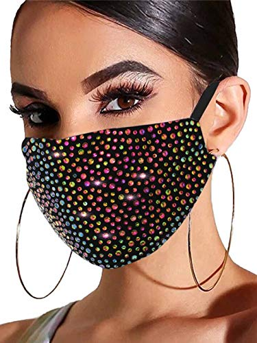Barode Sparkly Rhinestones Mask Masquerade 3D Crystal Halloween Masks with Adjustable Ear Loops Party Face Decoration Jewelry for Women and Girls (Rainbow)
