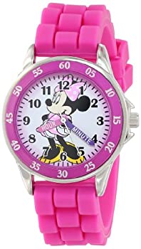 Minnie Mouse Kids  Analog Watch with Silver-Tone Casing Pink Bezel Pink Strap - Official Minnie Mouse Character on The Dial Time-Teacher Watch Safe for Children - Model  MN1157