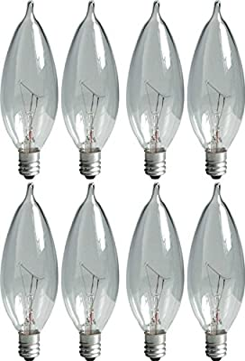 GE Lighting Crystal Clear 76236 40-Watt, 370-Lumen Bent Tip Light Bulb with Candelabra Base, 8-Pack