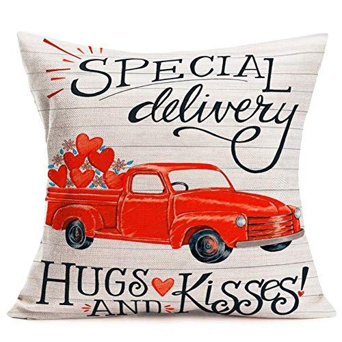 YYUU Fundas de almohada de lino y algodón, diseño de corazón rojo con frase en inglés 'Red Love Heart', funda de cojín decorativa de 45,7 x 45,7 cm, entrega especial abrazos y besos