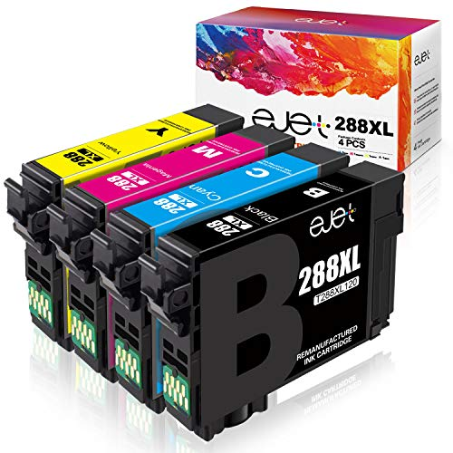ejet Remanufactured Ink Cartridge Replacement for Epson 288 XL 288XL T288XL to use with Expression Home XP-440 XP-330 XP-340 XP-430 XP-434 XP-446 Printer (1 Black, 1 Cyan, 1 Magenta, 1 Yellow) 4 Pack